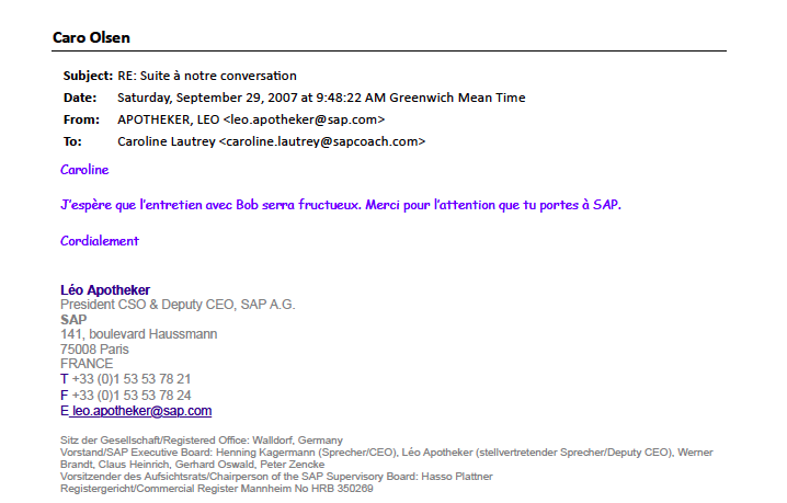 Leo Apotheker to Caroline Olsen SAP September 2007