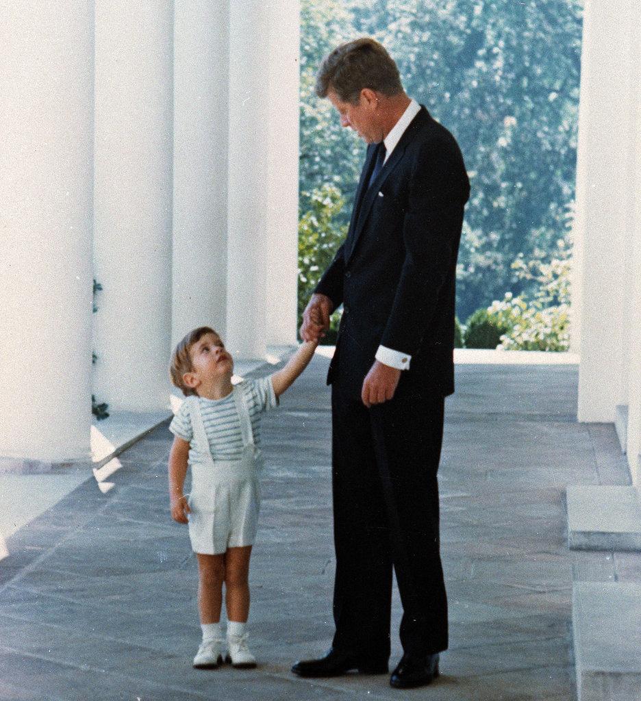 John John with his father, President John F. Kennedy.